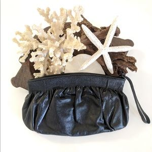 Banana Republic genuine leather black wristlet EUC